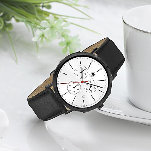 DMwatch Herrenuhren Schwarz Leder Armband Weiß Watchcase 3ATM Wasserdicht Mode Und Weich Armbanduhr Mit Datum Und Chronograph Analoganzeige Quarz Watch