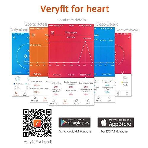 Antimi Fitness Armband, fitness tracker smart bracelet Smartwatch für Android Smartphone und iPhone, Schrittzähler, Push-Message und Anrufer - ID Benachrichtigung (Black)