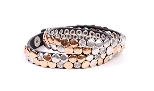 """Giuno """"Mara"""" hochwertiges Armband / Wickelarmband /mit hochwertigen Nieten und echtem Lederarmband/ AW03XX (Schwarz)"""