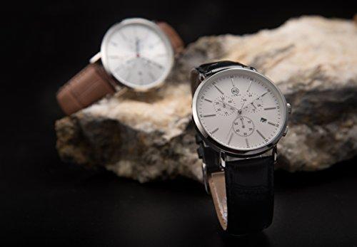 DMwatch Herrenuhren Braun Leder Uhrenarmband Silber Lünette Silber WatchcaseAnaloganzeige Quarz Wache Mit Chronograph Für Datum WasserresistenzMode Watch