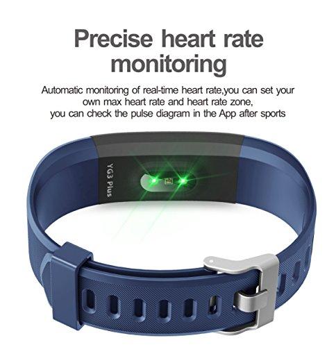 Fitness Armband HolyHigh YG3 Plus HR Pulsuhr Aktivitätstracker mit Herzfrequenz Monitor / wasserdichter /Schrittzähler / Anrufbenachrichtigungen / Ruhemodus/ Kamerabedienung für Android und iOS (Blau)