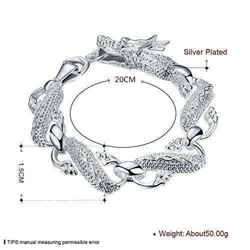 Gnzoe Damen Herren Damenarmband Armband Edelstahl Charme Armschmuck Drachen Silber Länge 8 Zoll