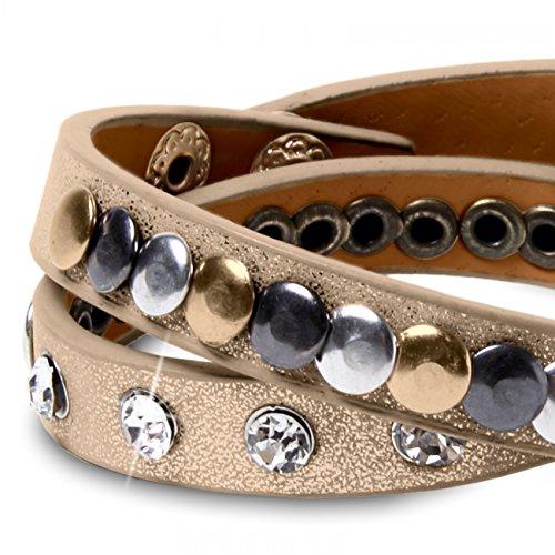 CASPAR AZ303 Damen Nieten Armband , Farbe:metallic gold