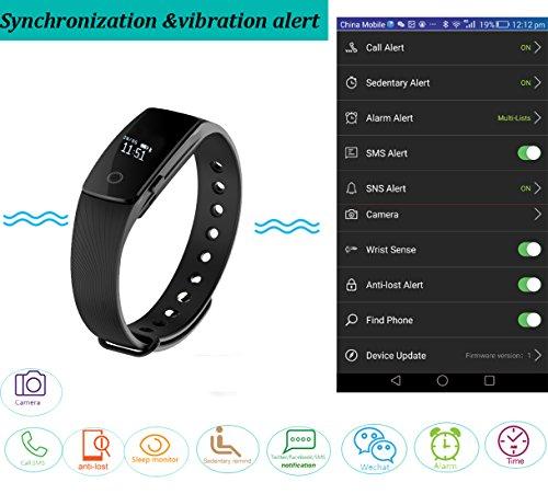 YAMAY® HR Fitness Tracker mit Pulsuhren,Fitness Armband Aktivitätstracker Bluetooth Smart-Armband Schrittzähler Vibrationswecker Anruf SMS SNS Vibration für iOS und Android Handys