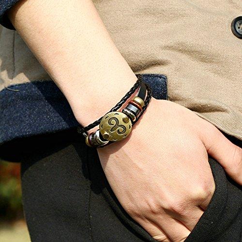 Jiedeng Unisex Armband Punk Rock Armreif Handgefertigt Geflochten Echtleder Armband Legierung Echtleder mit Widder Armreifen Lederarmband Armbänder für Herren Damen Armschmuck Schwarz Gold(21CM)