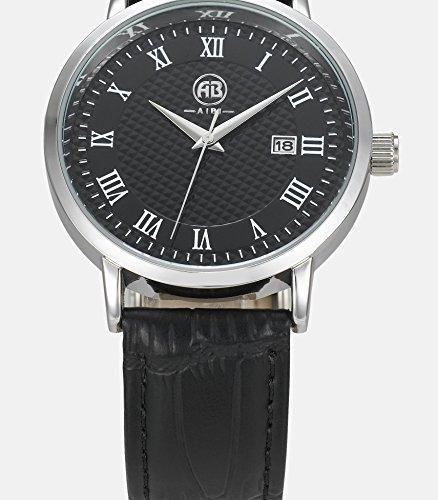 DMwatch Herrenuhren Schwarz Leder Uhrenarmband Mode Wasserdicht Analoganzeige Quarz Watch Mit Datum Für Herren