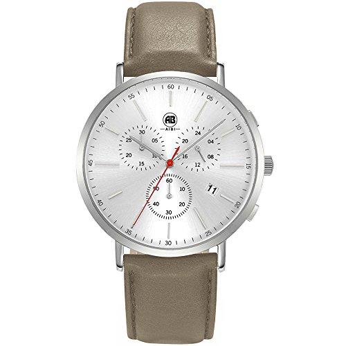 DMwatch Herrenuhren Grau Leder Uhrenarmband Rose Gold Lünette Silber WatchcaseAnaloganzeige Quarz Wache Mit Chronograph Für Datum WasserresistenzMode Watch