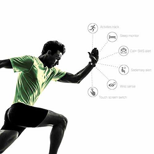 Fitness armband Smarter YG3 Activity Tracker Armband Schrittzähler Kabellose Bluetooth 4.0 Schritte Entfernung Sleep Kalorien ausgeschnittenem Touch Bildschirm Call Nachricht Reminder für Android und IOS (Schwarz)