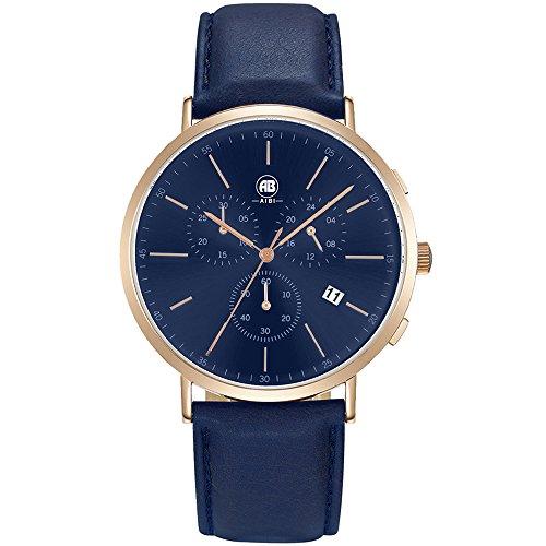 DMwatch Herrenuhren Blau Leder Uhrenarmband Und Watchcase Rose Gold Lünette 3ATM Wasserresistenz Mode Analoganzeige Quarz Watch Mit Datum Und Chronograph