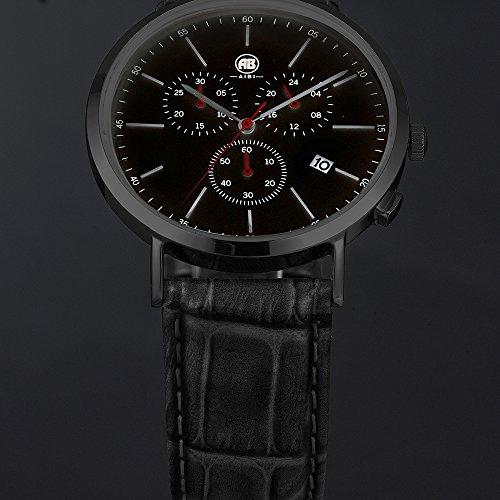 DMwatch Herrenuhren Schwarz Leder Armband 3ATM Wasserdicht Mode Und Weich Armbanduhr Mit Datum Und Chronograph Analoganzeige Quarz Watch