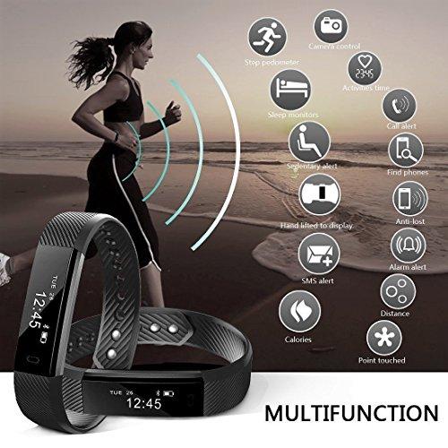 NAKOSITE SB2433 Schrittzähler, Fitness Armband, Activity Tracker, Fitness Tracker, Kalorienzähler, Schlafüberwachung, Distanz, Sportuhr, mit Lauf und Jogging App von VeryFit. Verbindet sich NUR mit iPhone und Android Telefonen. Erfordert Bluetooth 4.0, für Android 4.4 oder IOS 7.1 und neuer. PLUS: SMS, Anrufer ID, Alarm, Anti-Telefonverlust, Telefon Finden, Bilder Aufnehmen, SNS Benachrichtigungen, wie WhatsApp und Facebook. Farbe Schwarz. Bonus: Fitness E-Book