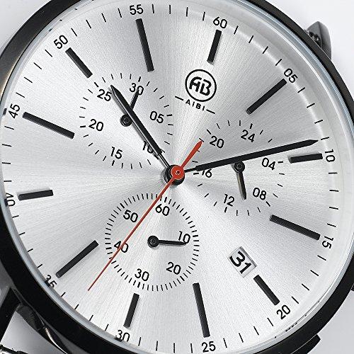 DMwatch Schwarz Rostfreier Stahl Armband 3ATM Wasserdicht Weiß Watchcase Mit Datum Und Chronograph Analoganzeige Quarz Mode Wache Für Herren
