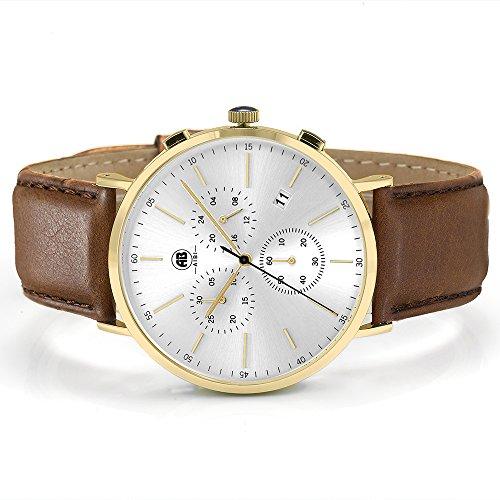 DMwatch Herrenuhren Braun Leder Uhrenarmband Gold Lünette Silber WatchcaseAnaloganzeige Quarz Wache Mit Chronograph Für Datum WasserresistenzMode Watch