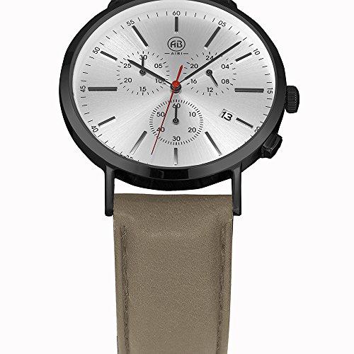 DMwatch Herrenuhren Kamel Leder Armband 3ATM Wasserdicht Mode Armbanduhr Mit Datum Und Chronograph Analoganzeige Quarz Watch