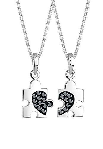 Elli Damen-Kette mit Anhänger Partnerkette, Puzzleteile 925 Sterling Silber Swarovski Kristall schwarz Brillantschliff 0101281312_45
