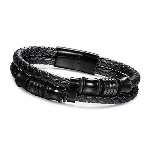 GOOD.designs Herrenarmband in Schwarz mit silbernen Titan-Perlen, schwarzes Lederarmband, Magnetischer Verschluss zum einfachen anlegen