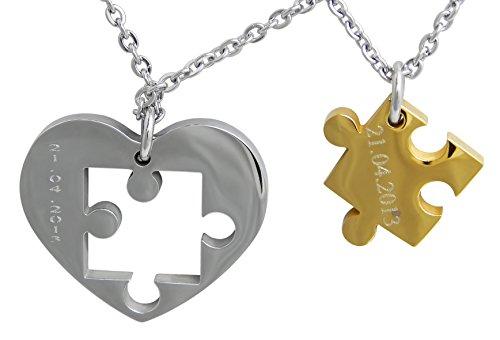 Hanessa Geschenk zu Weihnachten Gravierte Puzzle Herz Kette mit Wunsch Gravur Gold / Schwarz / Blau / Silber Partner-ketten aus Edelstahl silberne Hals-Kette Puzzle-Teil Anhänger Schmuck für Paare