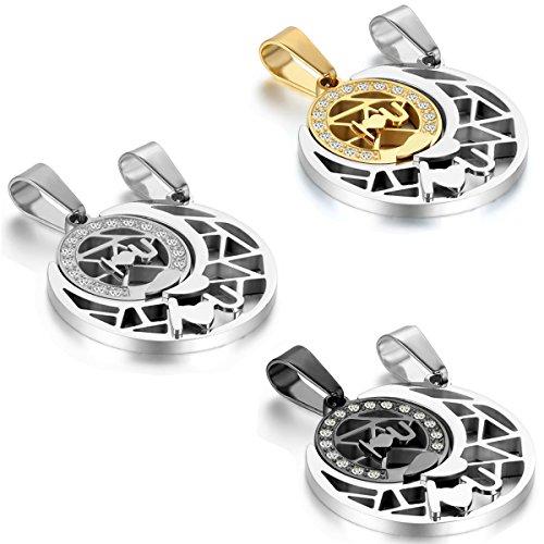 JewelryWe Schmuck 2 Damen Herren Halskette, I LOVE YOU Edelstahl Strass Sonne & Mond Partner-Anhänger mit 45cm und 55cm Kette, Partnerketten Freundschaftsketten, 3 Motiven