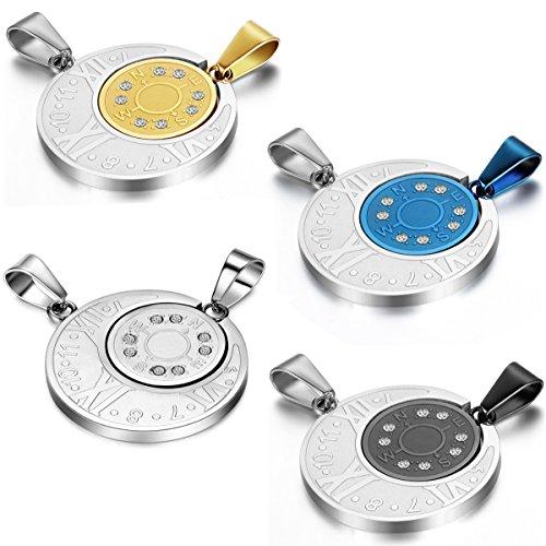 JewelryWe Schmuck 2 Freundschaftsketten, Römische Ziffern Kompass Puzzle Anhänger, Partneranhänger mit 55cm und 45cm Ketten für Damen Herren Partnerketten Silber Blau Schwarz Gold