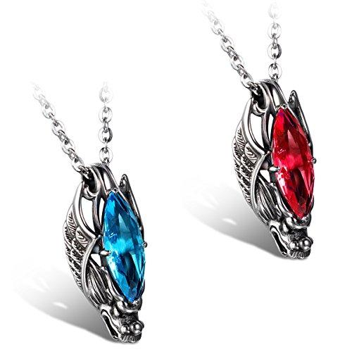 JewelryWe Schmuck Edelstahl Kette, Gotik Herrschsüchtigem Drachen Kopf Anhänger mit Rot/Blau Glas, Halskette Partnerkette für Damen und Herren