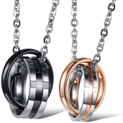 JewelryWe Schmuck Edelstahl Paare Halskette, 2 Kreuz Gravur Ringe Verriegelung Anhänger, Partneranhänger Partnerketten Ketten Geschenk für Damen Herren