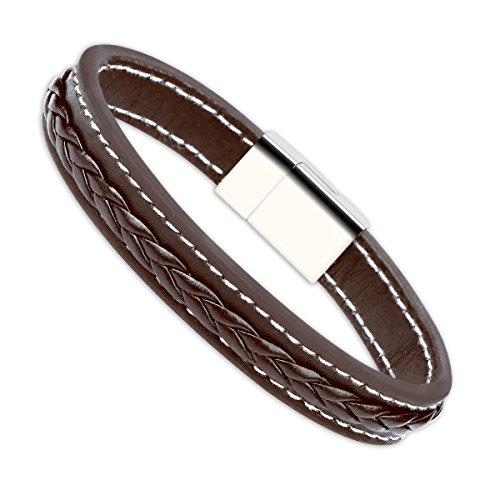 Leder Armband für Herren enjoit Herren Jewelry Edelstahl Magnetverschluss Schnalle Schwarz & Braun 21cm (21cm)
