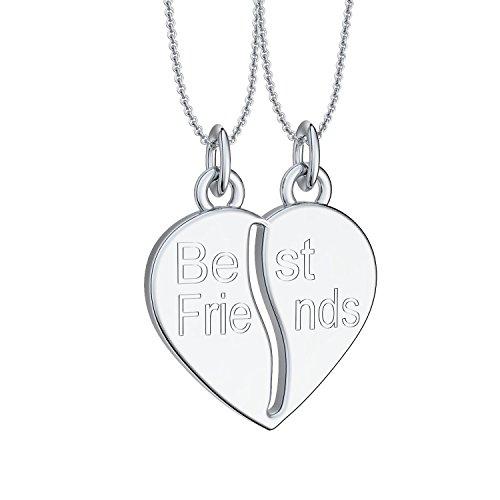 Liebesketten Freundschaftsketten Partnerketten Silber 925 Gravur Herzkette für Paare zwei Teile Love Kette teilbar Pärchen halb Hälfte trennbare zerbrochen zweiteilig doppelt zum Teilen FF78SS92545-0