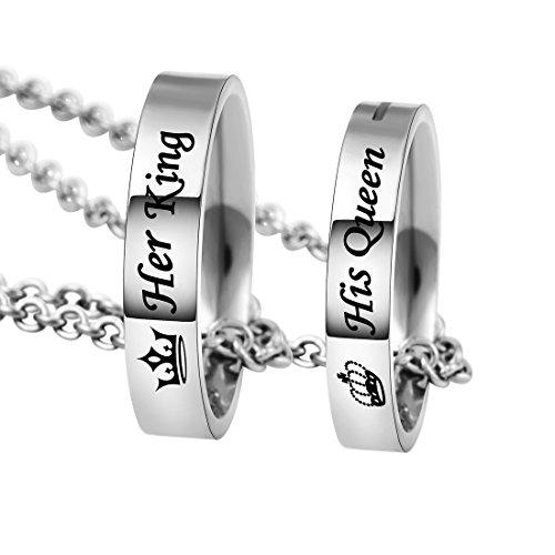 MJARTORIA Damen Kette Silber Farbe Sperren Schlüssel Partnerketten mit Gravur Ich bin dein Ring Kreis 2 Stück