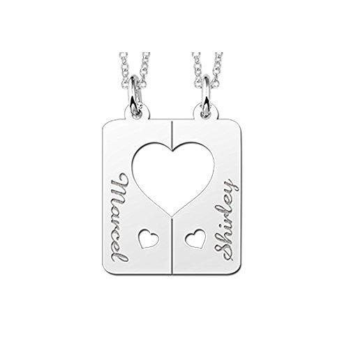 Namesforever Partnerkette Set 2 Anhänger Herzen mit Namensgravur und 2 Ketten 45-50 cm aus Silber