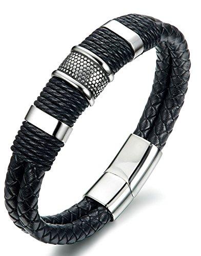 OSTAN - 316L Edelstahl und Leder Armbänder für Herren - Neue Mode Schmuck Armschmuck, Schwarz