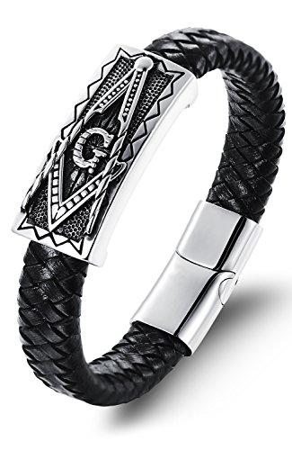 OSTAN - Gotik 316L Edelstahl und Leder Armbänder für Herren - Neue Mode Schmuck Armschmuck, Schwarz