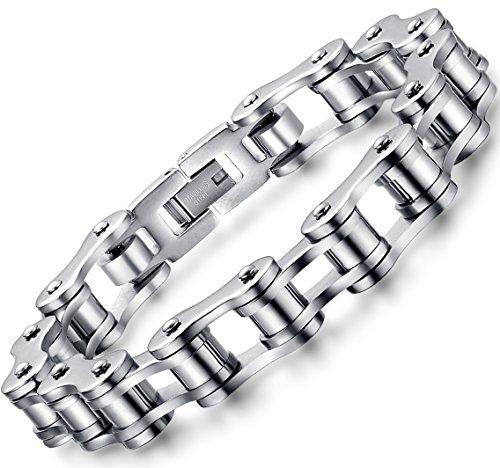OSTAN Schmuck Herren Edelstahl Armband Link Wristband Silber Farbe