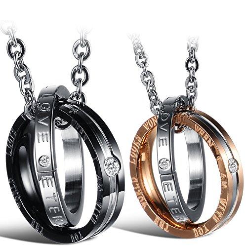 """Oidea 2PCS Freundschaftsketten mit Anhänger, Edelstahl """"ETERNAL LOVE"""" Gravur doppelte Ringe Anhänger mit Halskette Halsband Kette, Schwarz Silber Rosegold"""