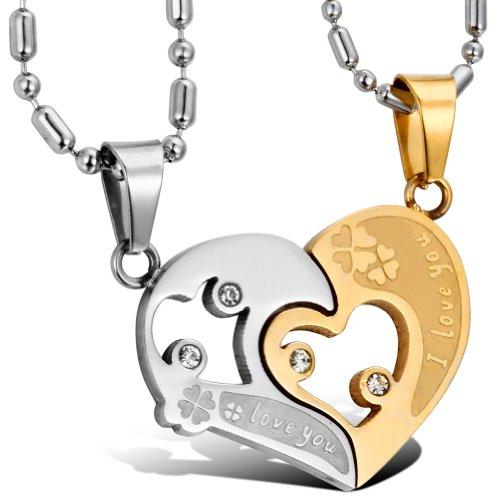 """Oidea 2PCS Freundschaftsketten mit Anhänger, Edelstahl """"I Love You"""" Gravur Herz Puzzle Love Partneranhänger mit Partnerketten, Silber Gold"""