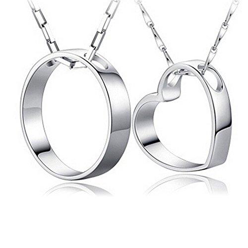 S925 Silber Partnerketten Set Herz und Kreis Liebesbeweis für Paare