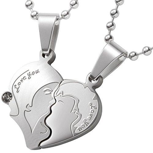 Schmuck-Pur Partner-Ketten mit persönlicher Laser-Gravur Partneranhänger Herz Edelstahl 2 Halsketten 45 / 50 cm