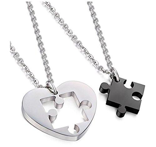 URBANSTYLES - Edelstahl Schmuck Partner-Kette für Verliebte - Paar Halskette mit Anhänger für Sie und Ihn - Herz/Puzzle