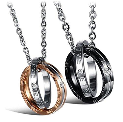 """URBANSTYLES - Edelstahl Schmuck Partner-Kette für Verliebte - Paar Halskette mit Doppelt Ring Anhänger und Gravur für Sie und Ihn - """"Eternal Love"""""""