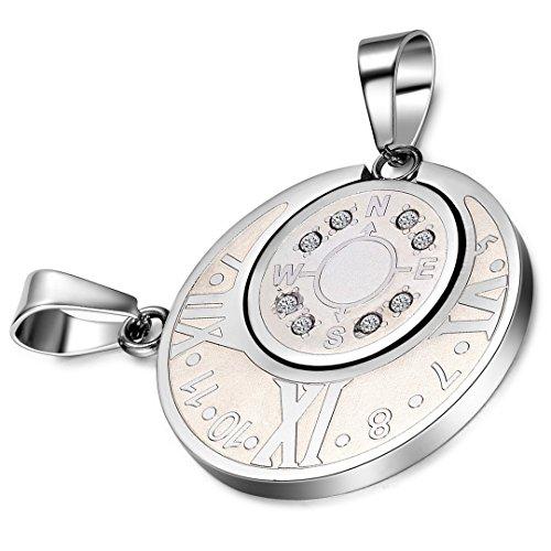 cupimatch 2-teilig Herren Frauen Silber Ton Edelstahl rund Kompass römischen Ziffern Design Anhänger Paar Halskette Weihnachten Valentine Geschenk mit 45 und 55 cm Kette