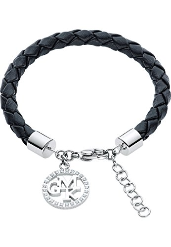 GMK Collection by CHRIST Damen-Armband Edelstahl/Lederimitat 25 Zirkonia One Size, schwarz