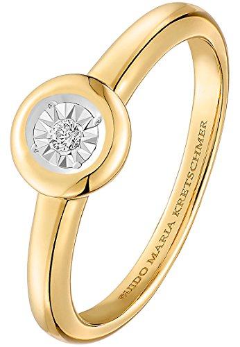 Guido Maria Kretschmer by CHRIST Damen-Ring 375er Gelbgold 1 Diamant 0,02 ct. gold, 52 (16.6)