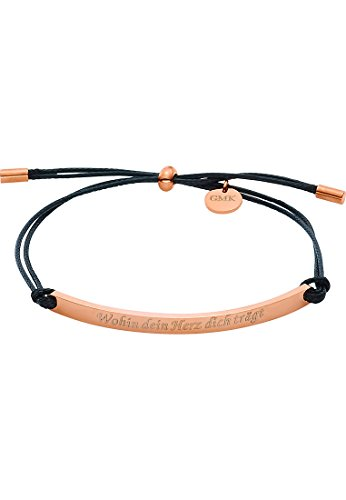 GMK Collection by CHRIST Damen-Armband Edelstahl/Baumwolle One Size, schwarz/rosé