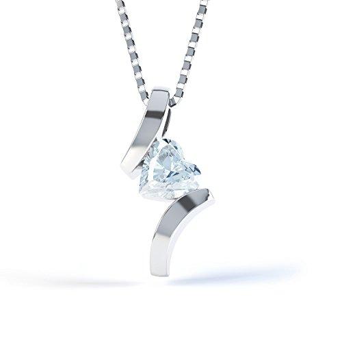 Aquamarin Herz Sterling-Silber 925 Anhänger &Kette