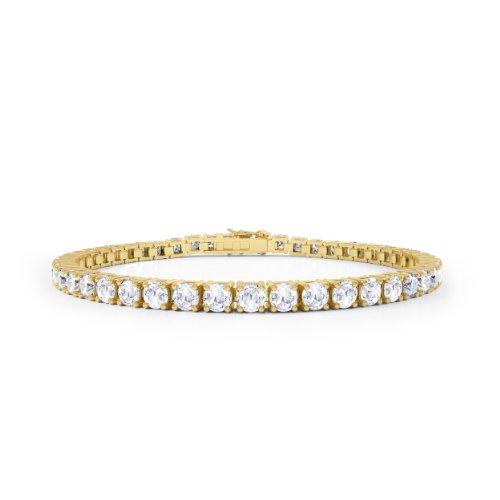 Diamant im Stardust-Schliff Damen-Armband - Silber - Gelbgold