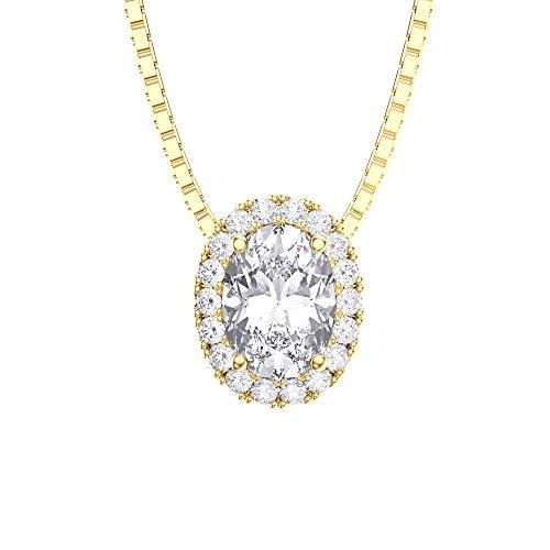 Ewigkeit Diamant Silber Anhänger (Oval Gelb Gold)