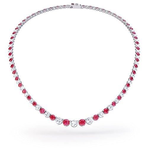 Ewigkeit Rubin und Weiß Saphir Silber Tennis Halskette (Rand bis 19in weiß gold)