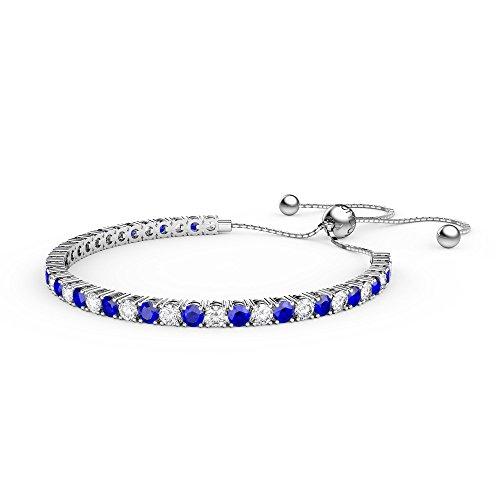 Ewigkeit Saphir und Diamant CZ Silber Fidschi Freundschaft Tennis Armband