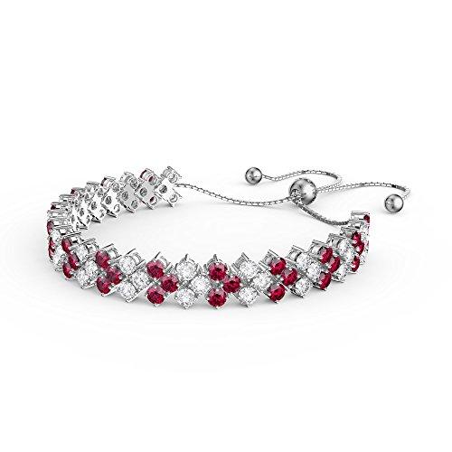 Ewigkeit drei Row CZ Silber Rubin und Diamant Tennis Armband