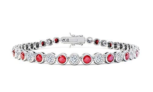 Infinity Rubin und Diamant Silber Tennis Armband (17,8cm weiß gold)