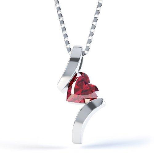 Jian Garnet Schmuck-Set Kette Silber Anhänger Herz Crossover &Kette